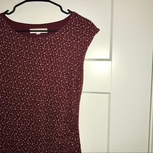 LOFT maroon midi dress